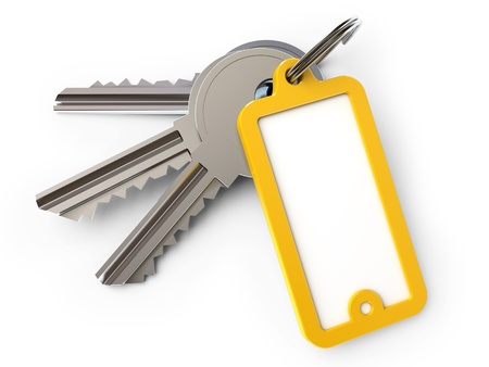 key in chain: key chain, on a white background, 3d render