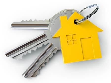 dwell: house key with charm, on a white background