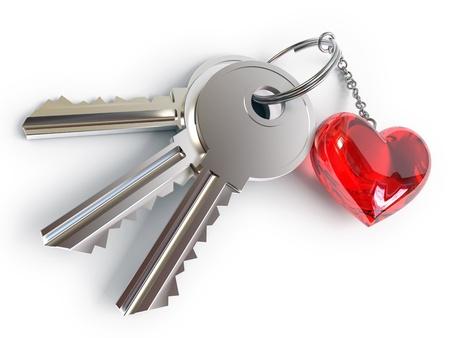 ring ruby: Keys, heart, key ring, on a white background, 3d render