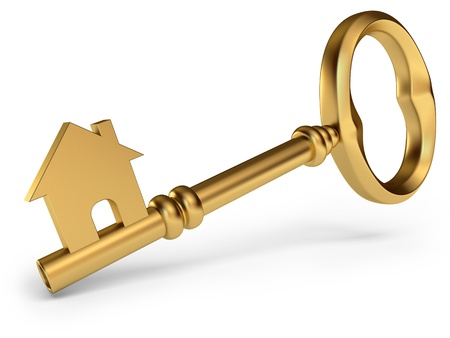 unlock: House Key, on a white background, 3d render