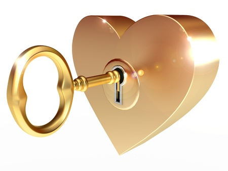 golden key opens the heart, on a white background, 3d render