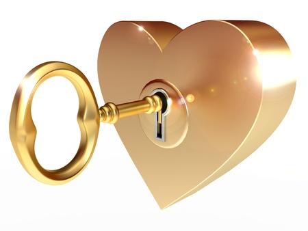 La llave de oro abre el corazón, sobre un fondo blanco, 3d