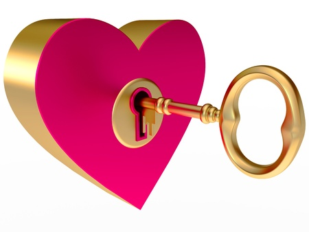 gold keyhole: key from the heart, on a white background, 3d render Stock Photo