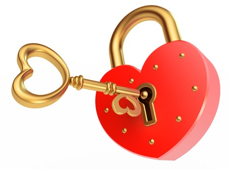 key opens the padlock, on a white background, 3d render Stock Photo - 13923796