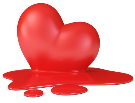 Red melting heart, 3d render photo