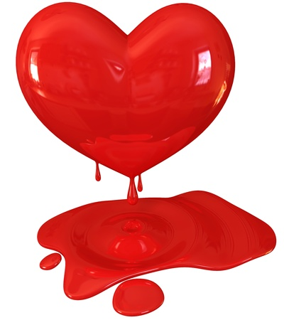 lovesickness: Red melting heart, 3d render Stock Photo