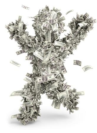 金持ち: お金男金持 1 つ 100 ドル 写真素材