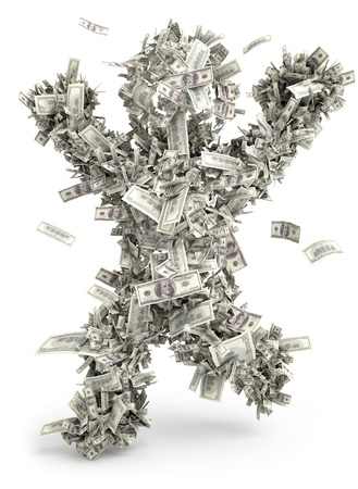 Money man  Moneybags  One hundred dollars Stock Photo - 13923852