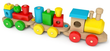Wooden toy train, on a white background, 3d render photo