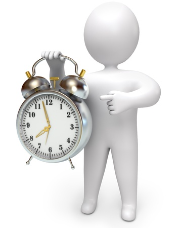 wake: man points to the clock, on a white background, 3d render Stock Photo