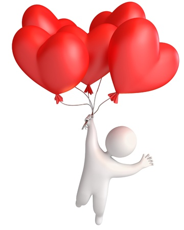 i kids: Balloon in heart shape  Man flying in a balloon  Holding a balloon