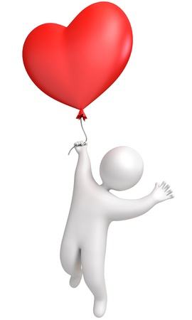 Balloon in heart shape  Man flying in a balloon  Holding a balloon Stock Photo - 13923756