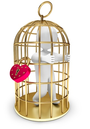imprisoned person: man trapped in a golden cage, on a white background, 3d render Stock Photo