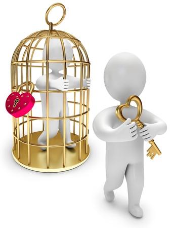 key to freedom: hombre en una jaula de oro, la persona tiene la llave de oro, sobre un fondo blanco, 3d Foto de archivo