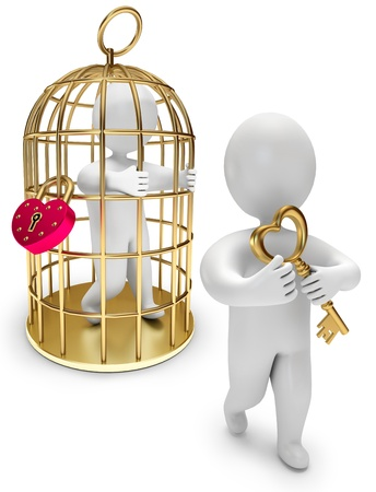 man in a golden cage, person holds the golden key, on a white background, 3d render photo