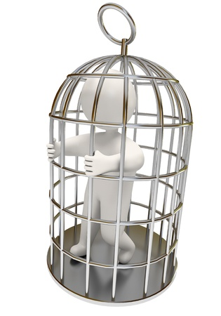 unfortunate: man in the cage, on a white background, 3d render