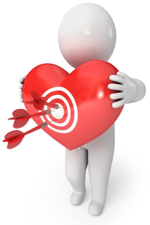 penetrating: Balloon in heart shape  Darts on target  Small people with a heart  Cupid arrow  3d render Stock Photo