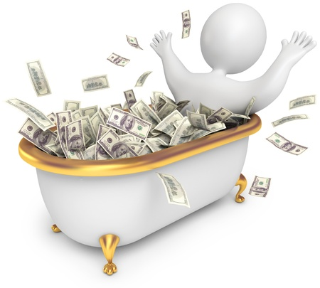 riches: People awash in cash, 3d render Stock Photo