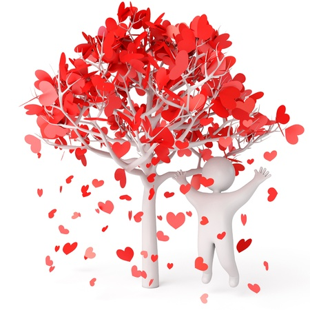 heart under: Petals fall from the tree, rose petals in heart shape, a man stands under a flowering tree