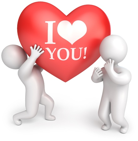 declaration of love: The man gives the woman a big red heart, 3d render Stock Photo