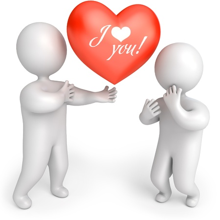 The man gives the woman a big red heart, 3d render photo