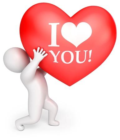 Un hombre con un gran corazón rojo declaración de amor, 3d Foto de archivo - 13923737