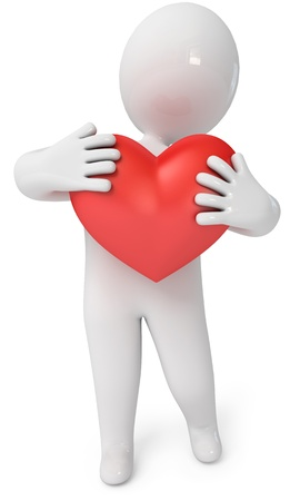 Small people with a heart  3d render  Isolated white background Stock Photo - 13923751