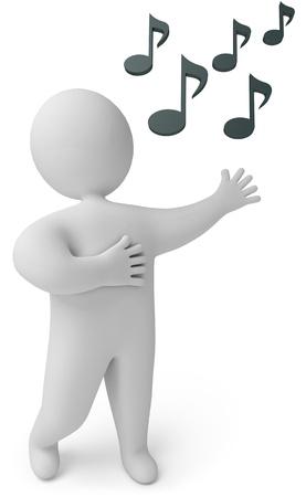 music figure: A man sings, 3d render