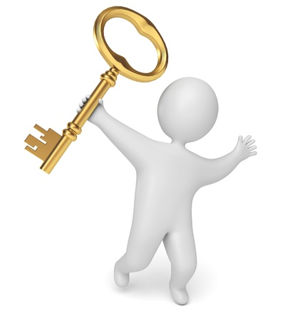 man holds the key in his hand, on a white background, 3d render