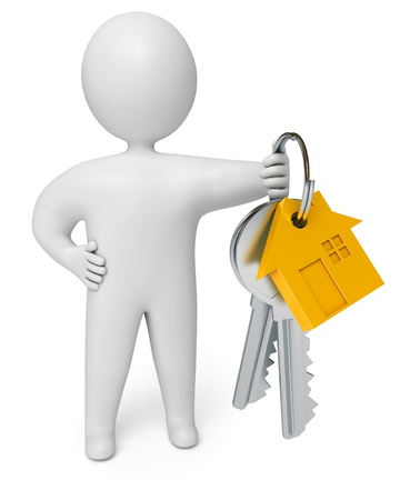 person holds the keys to the house, on a white background, 3d render photo