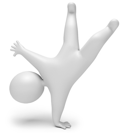 young gymnastics: jump for joy, on a white background, 3d render