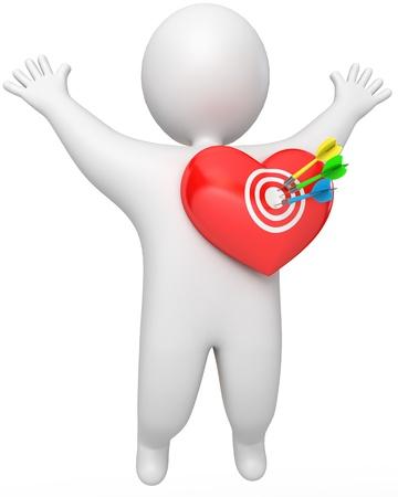 A man got a dart in the heart, 3d render photo