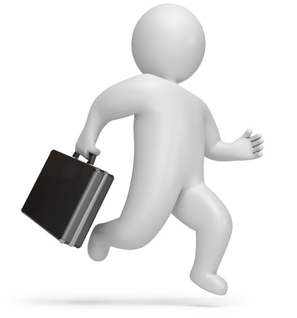 hustle: rush to work, on a white background, 3d render