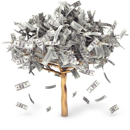 gain: Dollar grows on a tree, money Tree, on a white background, 3d render