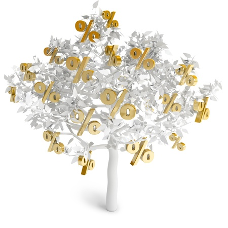 A tree growing percent, on a white background, 3d render photo