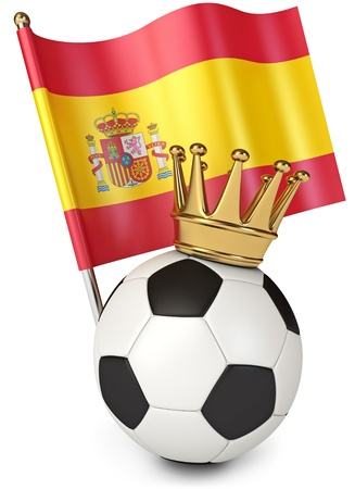 spain flag: Soccer ball with a golden crown, Flag of Spain