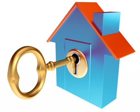 gold keyhole: House Key, on a white background, 3d render