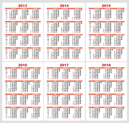 Calendar grid pocket vector, set Stock Vector - 14715910