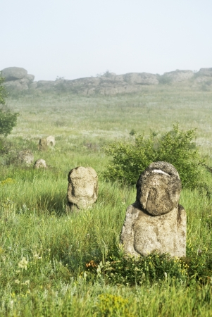 steppe: Stone idol in the steppe National Park Stone Tombs Stock Photo