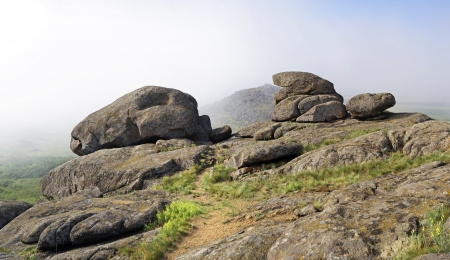 nebulous: Misty mountain landscape, boulders  Panorama