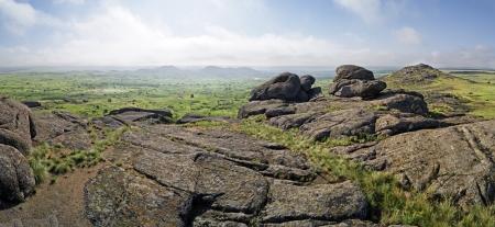 non urban: Misty mountain landscape, boulders  Panorama