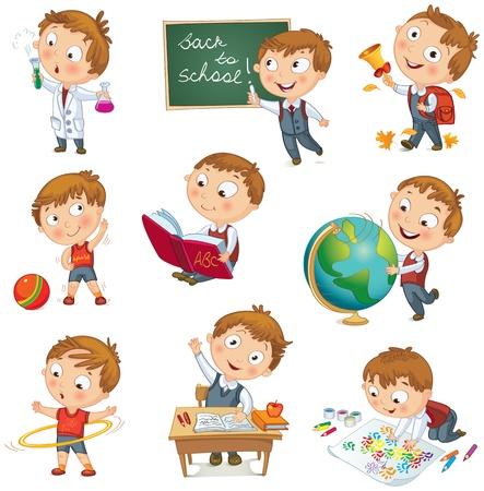 escuela caricatura: Boy levantando la mano en la escuela, escrito con tiza en la pizarra