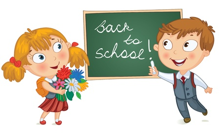 boy book: Boy wrote in chalk on blackboard  Girl holding a bouquet