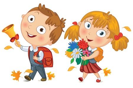cartoon school girl: Colegial y colegiala ir a la escuela Ni�o tocando la campana