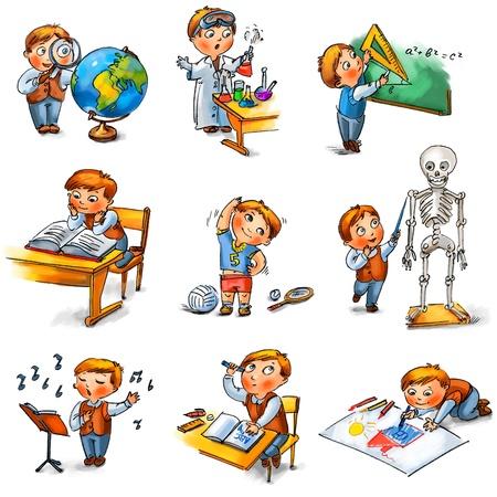 teaching crayons: Ritorno a scuola, scolaro carino in una lezione