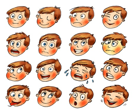 Emotions, Cartoon facial expressions set, Hand-drawn Stock Photo - 16650593