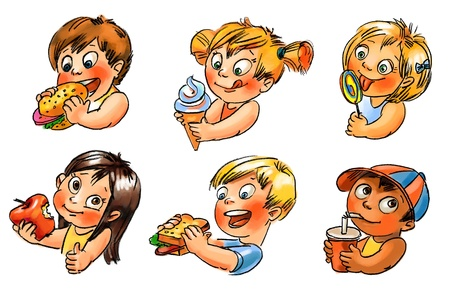 children eating: Child eats, Hand painted illustration Stock Photo