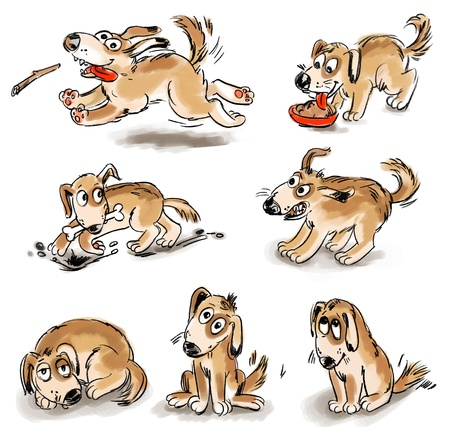 angry dog: Set of puppy fun, Freehand drawing Stock Photo