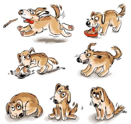 bury: Set of puppy fun, Freehand drawing Stock Photo