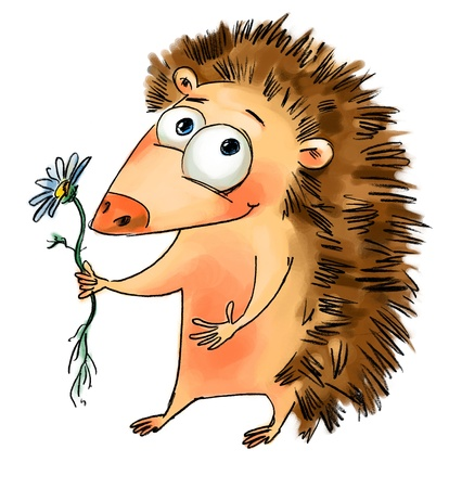 Hedgehog holding a flower, Freehand drawing Stock Photo - 16650583